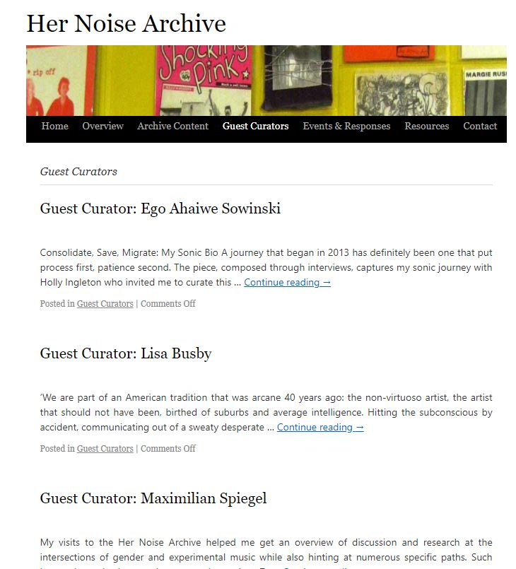 Her Noise Archive Guest Curators