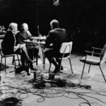 John Cage, Marcel Duchamp, & Teeny Duchamp performing Reunion at its premiere in Toronto, 5th March, 1968