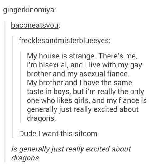 Meme: bisexual, gay, asexual house-share where one member is really excited about dragons