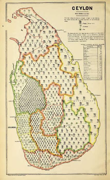 Map of Ceylon from the 1911 Census by E.B. Denham